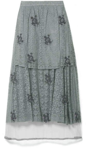 Embroidered Tulle-paneled Corded Lace Midi Skirt - Gray