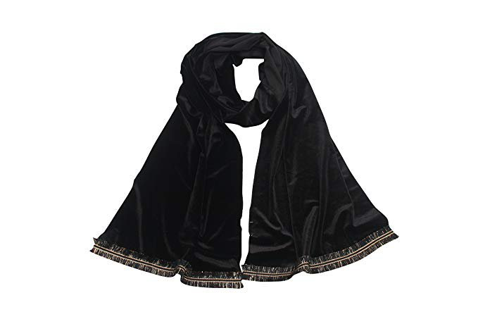 Black Velvet Scarf For Women Wrapswith Golden Short Fringe
