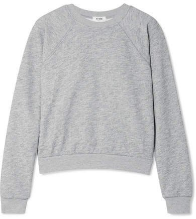 50s French Cotton-blend Terry Sweatshirt - Light gray