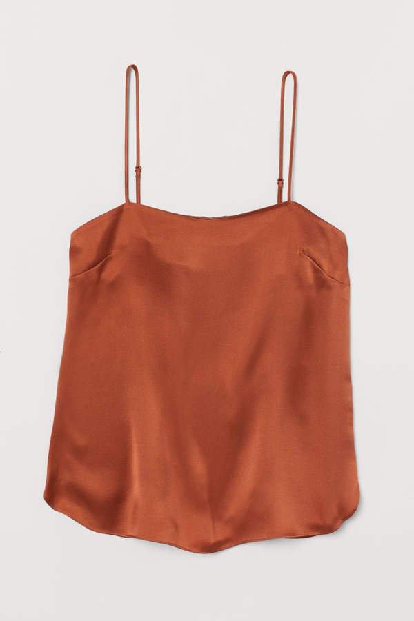Silk Camisole Top - Orange