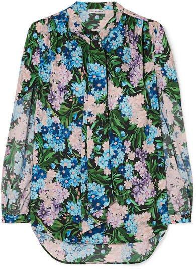Floral-print Crepe Blouse - Blue