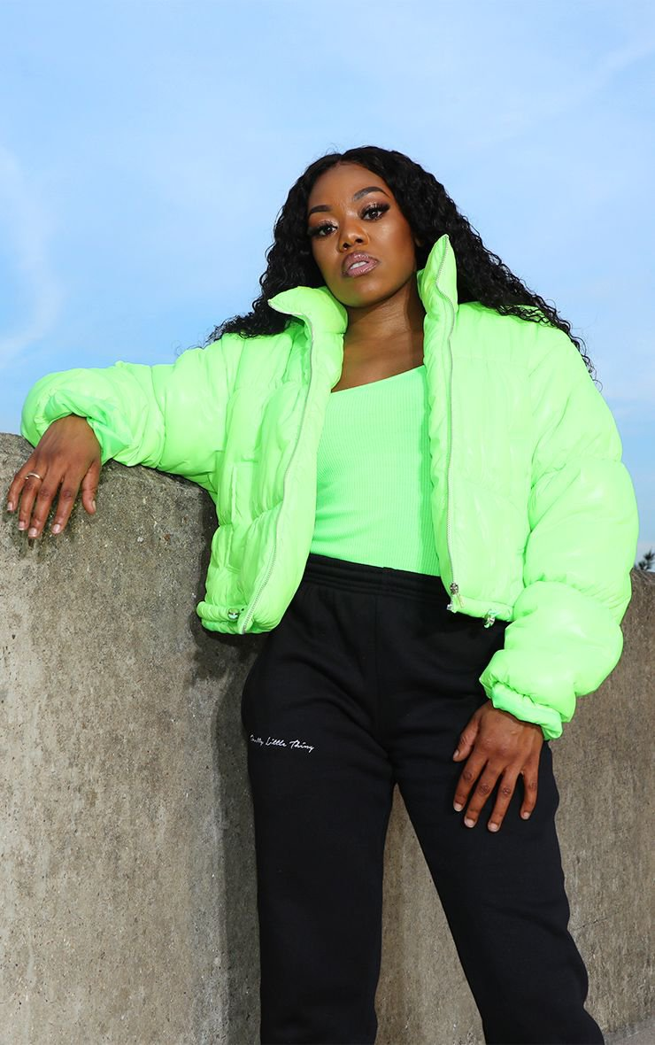 Lime Cropped Neon Puffer Jacket | Coats & Jackets | PrettyLittleThing USA