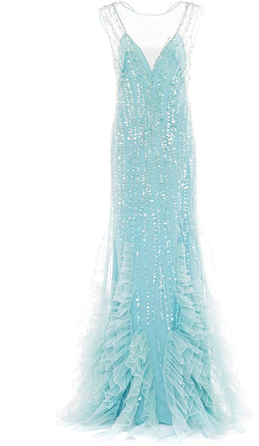 Sequin-Embellished Ruffled Tulle Gown