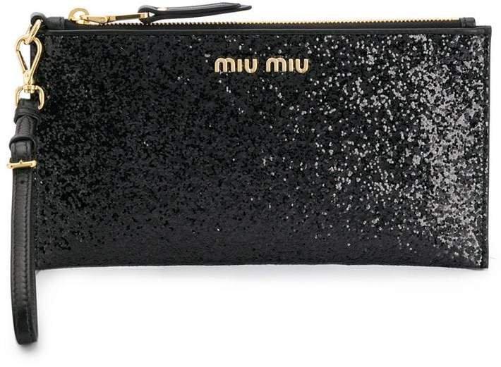glitter logo clutch bag