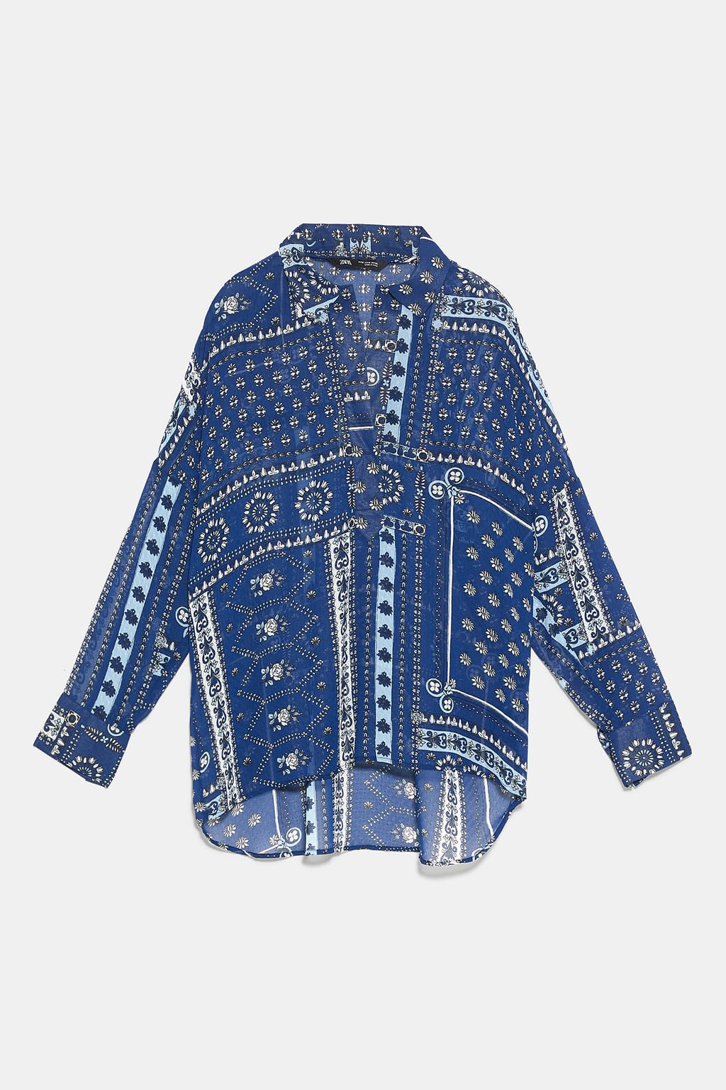 PATCHWORK PRINT BLOUSE - View All-SHIRTS   BLOUSES-WOMAN   ZARA United States