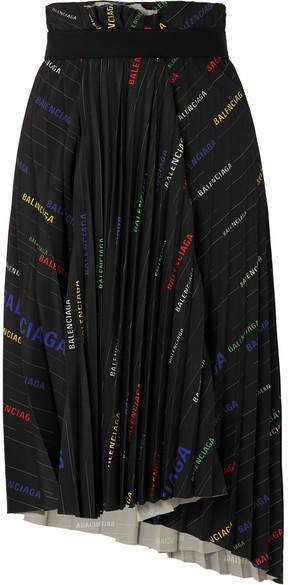 Asymmetric Pleated Printed Crepe Midi Skirt - Black