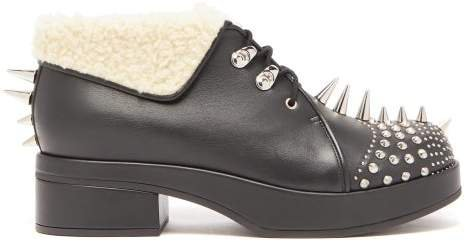 Shearling Trimmed Spiked Leather Boots - Womens - Black Silver
