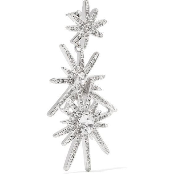 Kenneth Jay Lane - Silver-tone Crystal Earrings