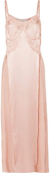 Lace-trimmed Silk-satin Midi Dress - Blush