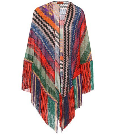 Metallic fringed scarf