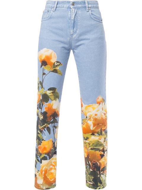 MSGM Rose Print Jeans