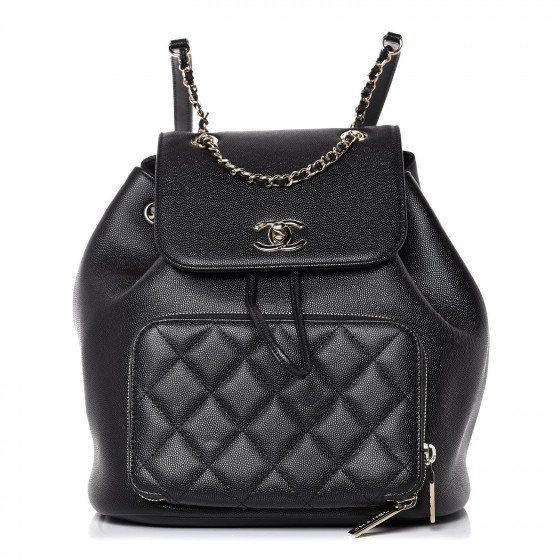 CHANEL Caviar Quilted Business Affinity Backpack Black 359808