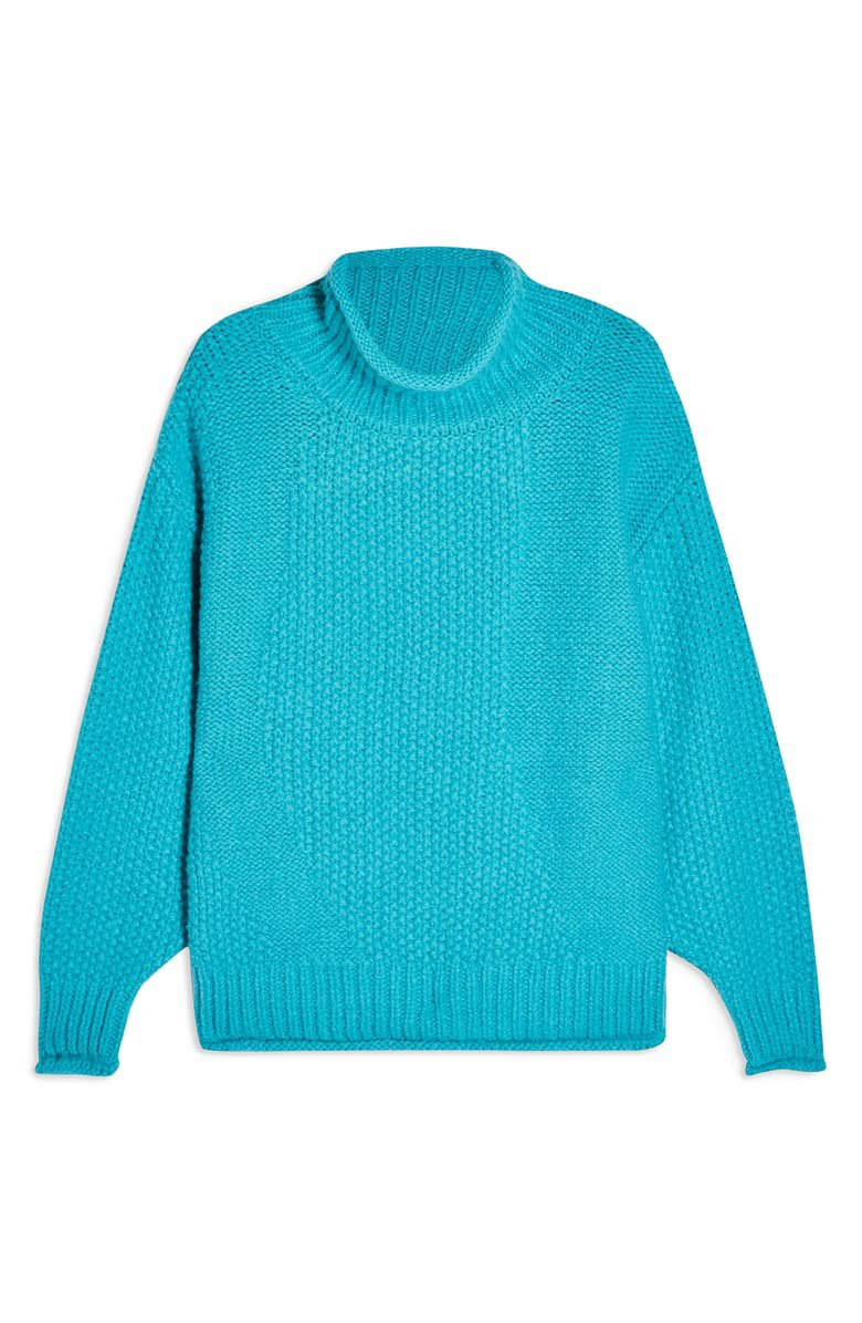 Topshop Mixed Stitch Roll Neck Sweater   Nordstrom