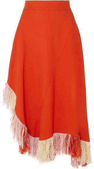 Fringed Jersey Skirt - Orange