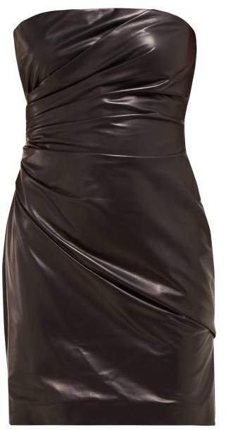 Draped Leather Mini Dress - Womens - Black Multi