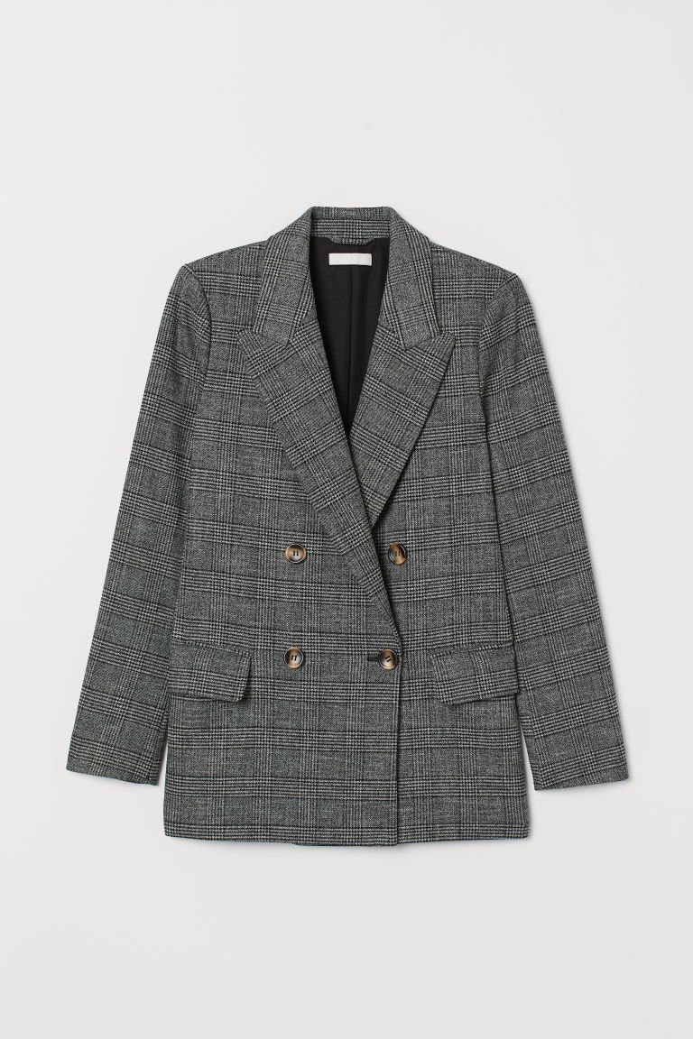 Jacket - Dark gray/black checked - Ladies | H&M CA