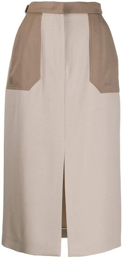 straight-cut midi skirt