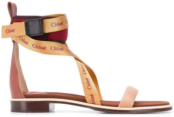 branded strap sandals