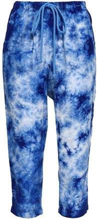 Cropped Tie-dye Washed-silk Tapered Pants