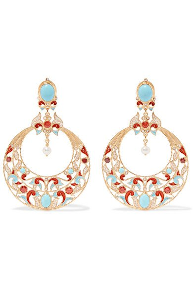 Percossi Papi | Gold-plated multi-stone clip earrings | NET-A-PORTER.COM