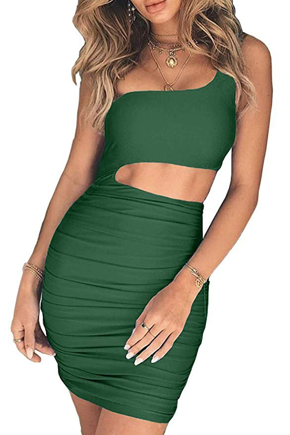 CHYRII Women's Sexy One Shoulder Sleeveless Cutout Ruched Bodycon Mini Club Dress at Amazon Women's Clothing store