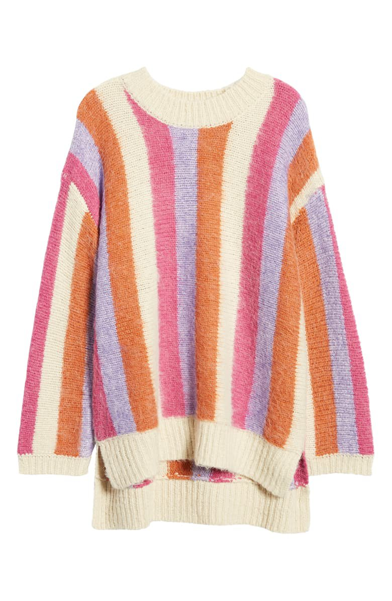 MOON RIVER Stripe High/Low Sweater