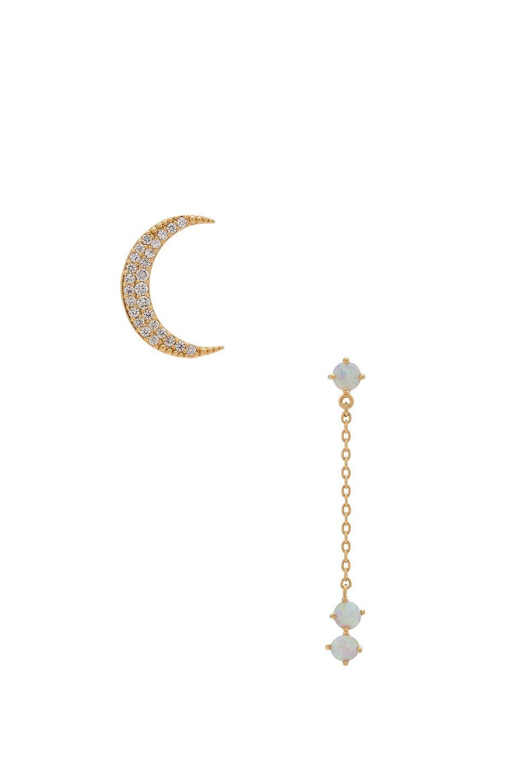 Crescent Gold & Opal Drop Earring