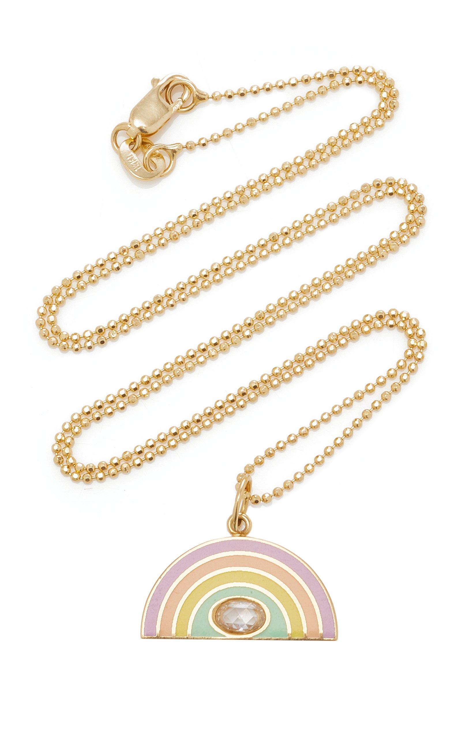 Andrea Fohrman Enamel Rainbow With Rose Cut Diamond