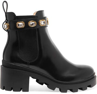 Trip Crystal-embellished Leather Chelsea Boots - Black