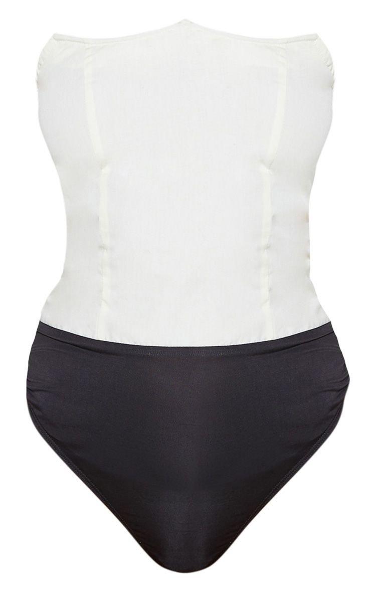 Cream Wired Bandeau Bodysuit | PrettyLittleThing