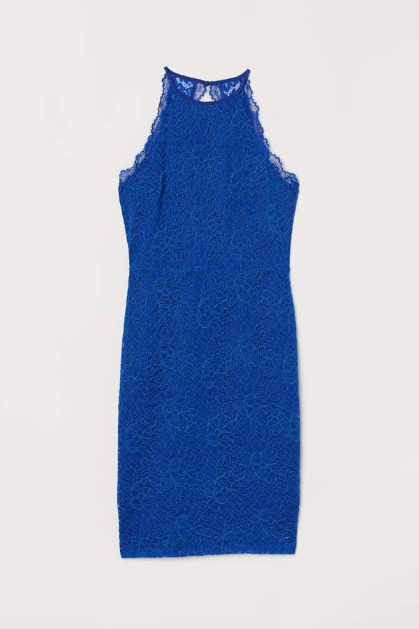 Lace Halterneck Dress - Blue