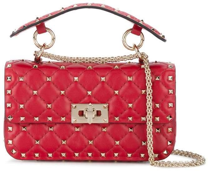 Red Rockstud Spike Leather Cross Body Bag