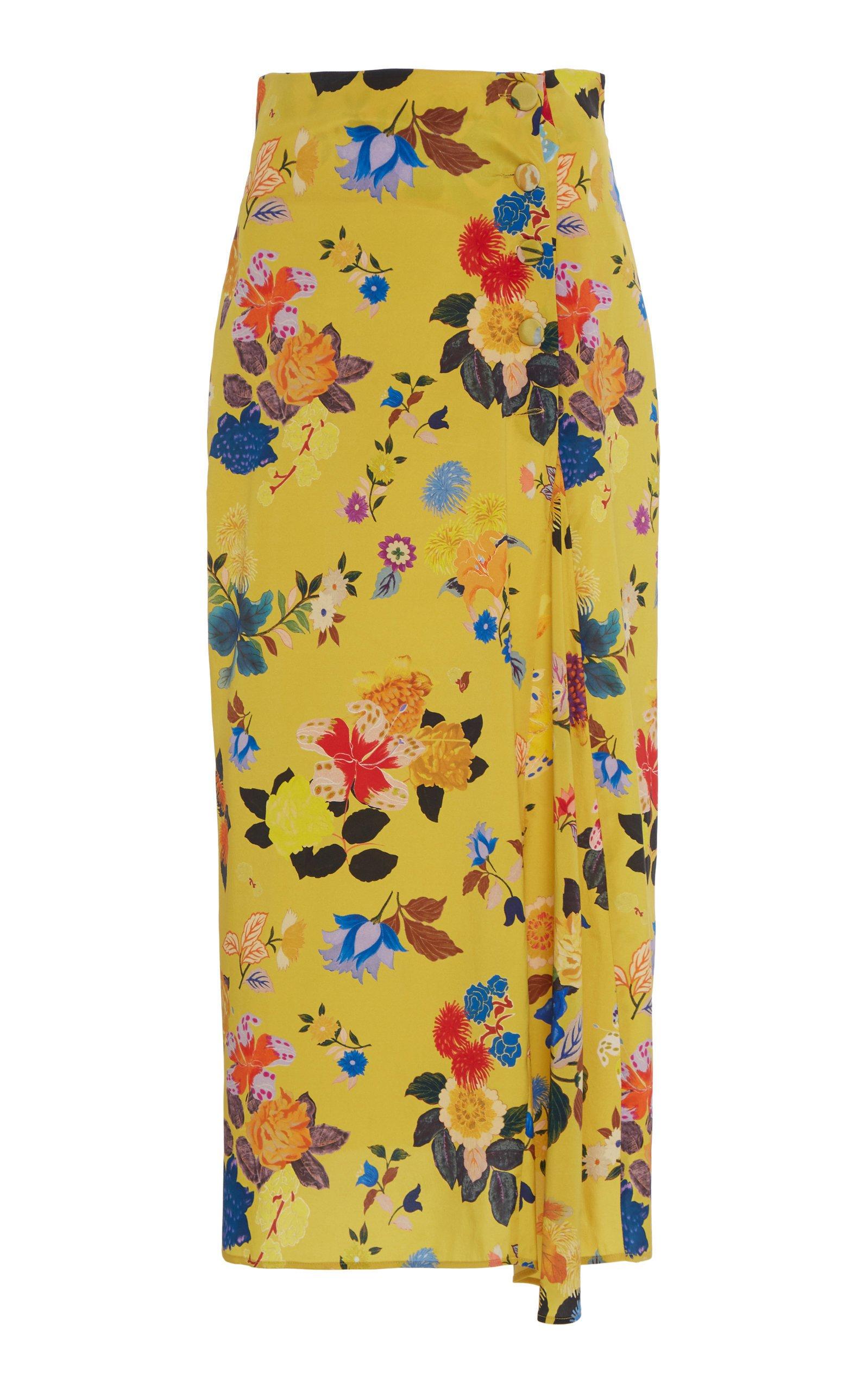 Etro Floral Draped Midi Skirt