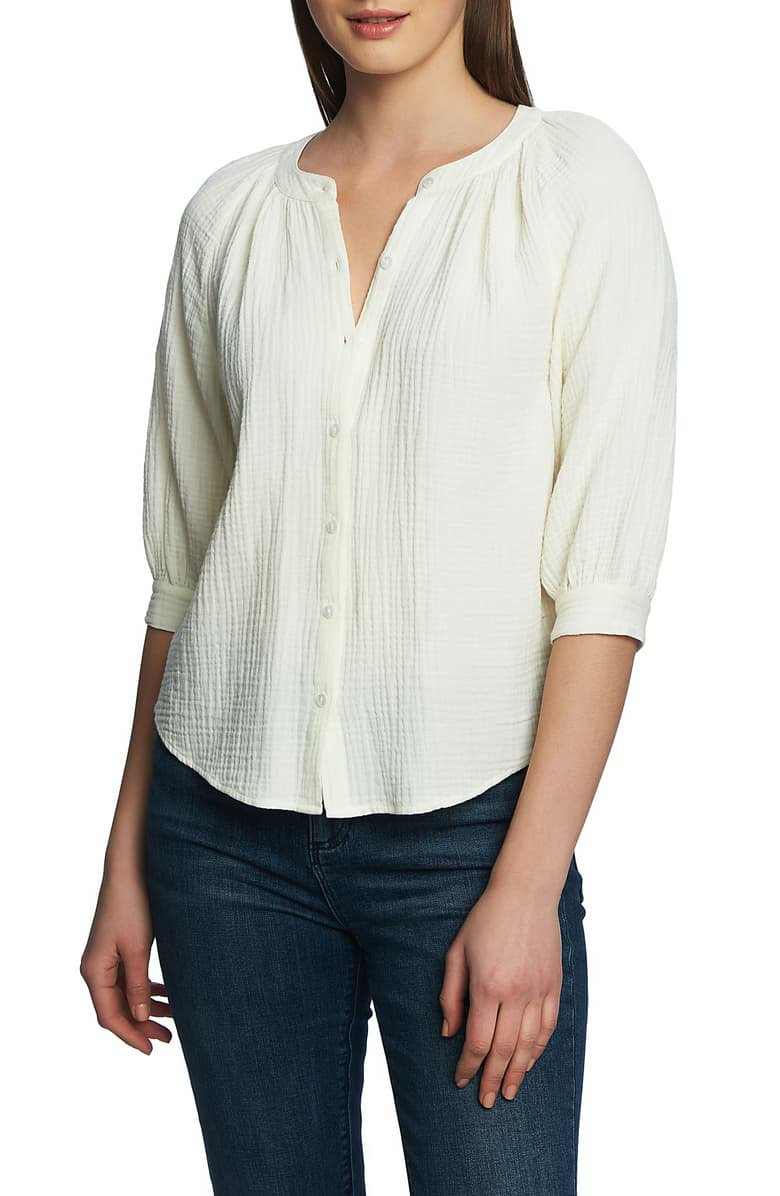 1.STATE Button Up Cotton Gauze Blouse | Nordstrom