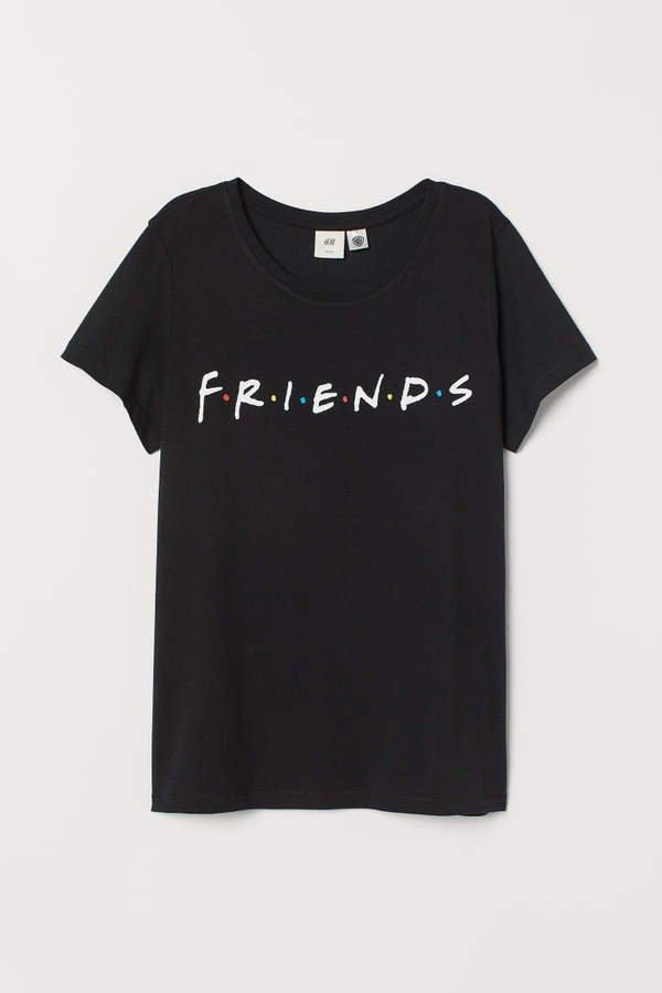 T-shirt with Motif - Black