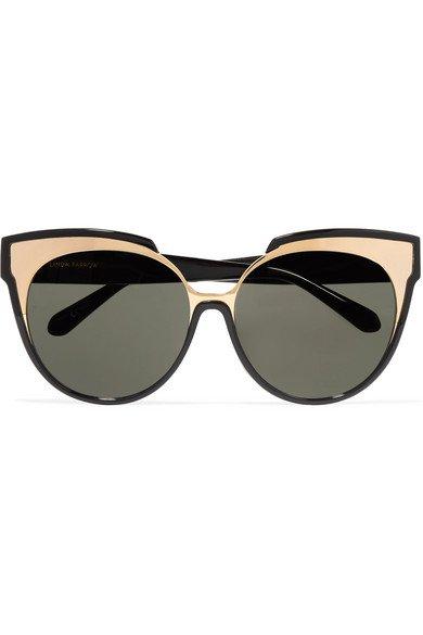 Linda Farrow | Cat-eye gold-tone and acetate sunglasses | NET-A-PORTER.COM