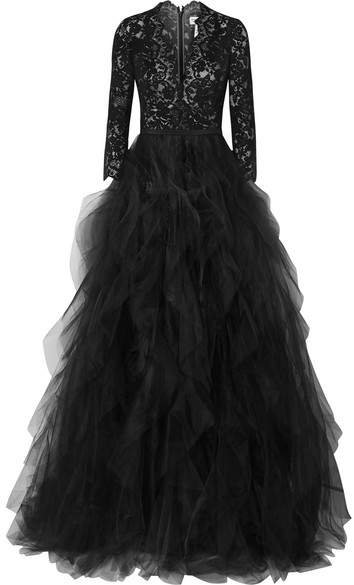 Corded Lace And Ruffled Tulle Gown - Black