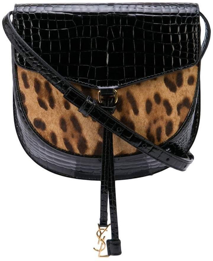 leopard print panel cross body bag