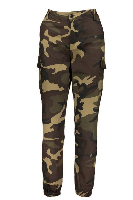 High Waist Camo Cargo Pants | Boohoo