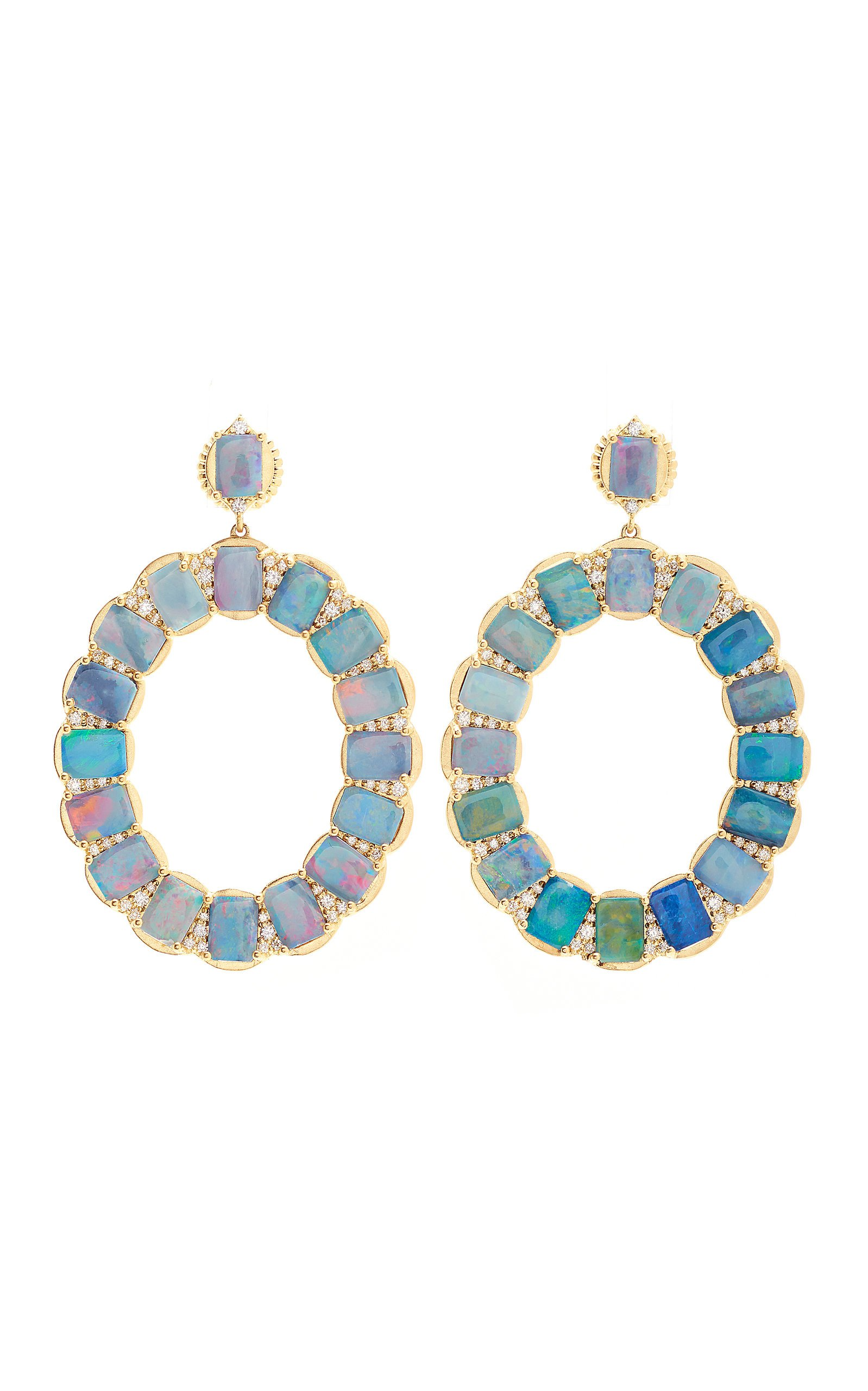 Jamie Wolf 18K Yellow Gold Opal And Diamond Oval Earring