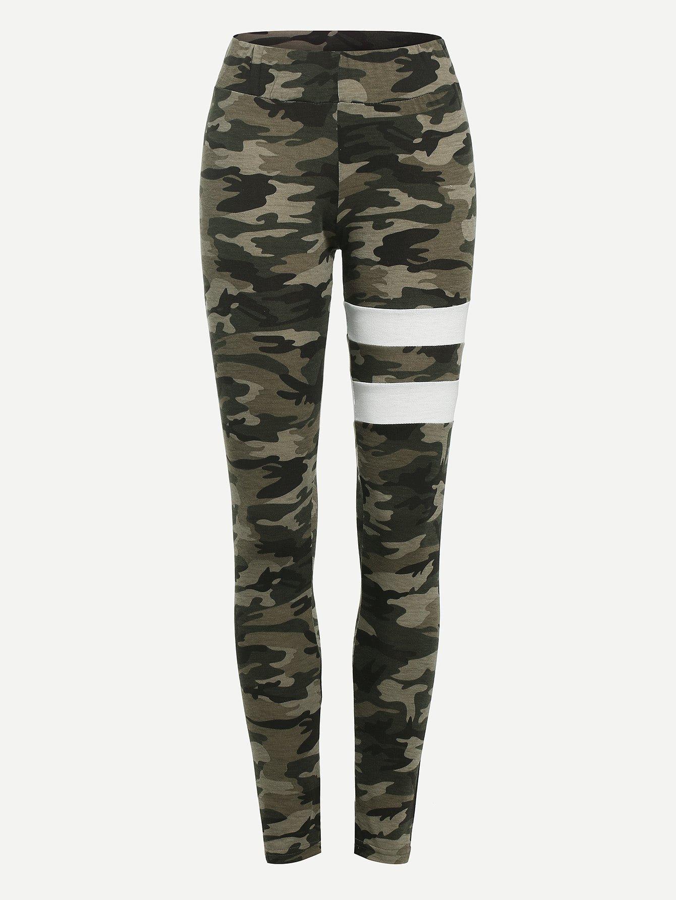 Camo Varsity Striped Leggings