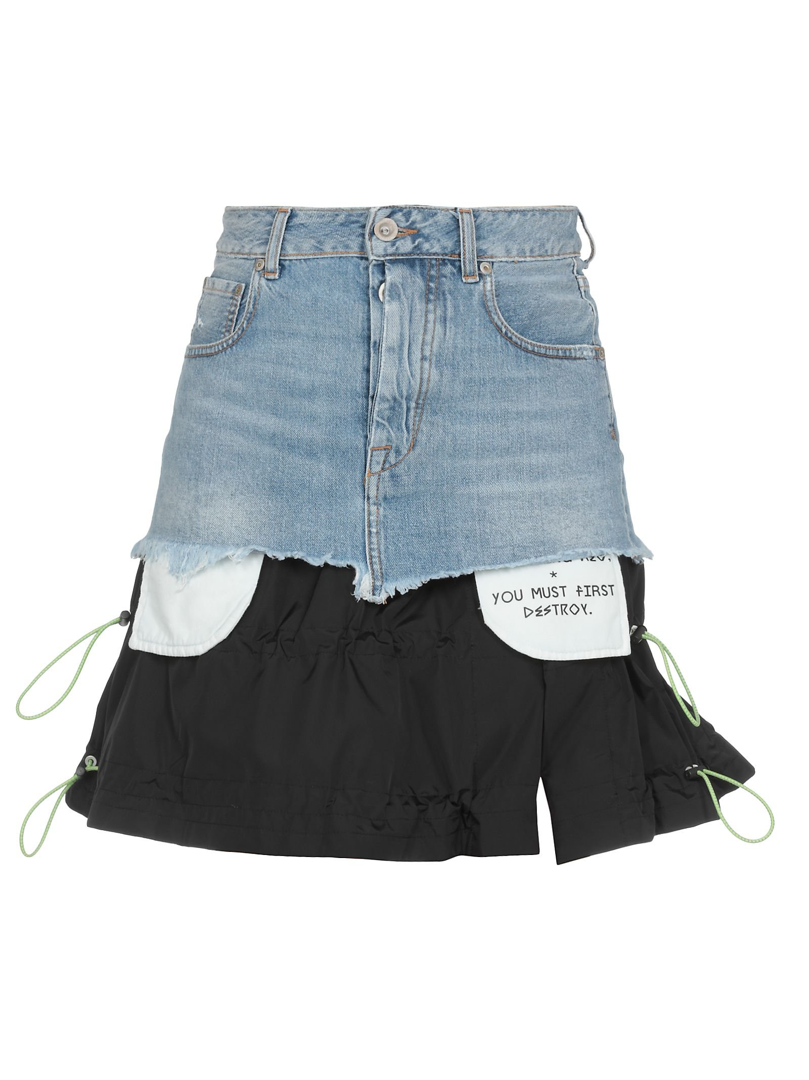 Ben Taverniti Unravel Project Cotton Jeans And Tech Fabric Skirt