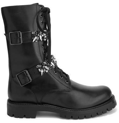 Lace-up Crystal-embellished Leather Boots - Black