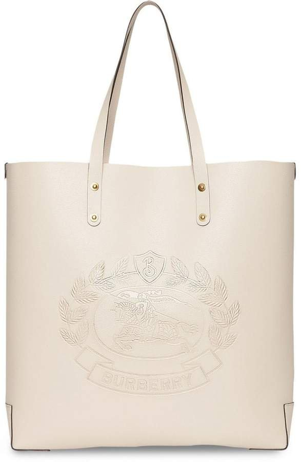 Embossed Crest Leather Tote