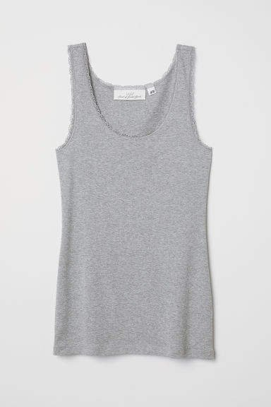 Tank Top with Lace - Gray