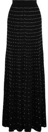 Studded Pleated Wool-blend Maxi Skirt