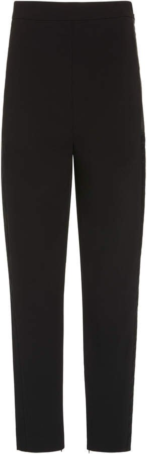 High-Waist Crepe Straight-Leg Pants