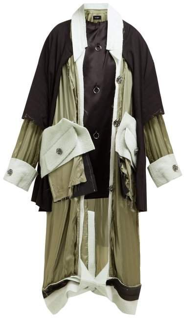 Deconstructed Satin Coat - Womens - Green Multi