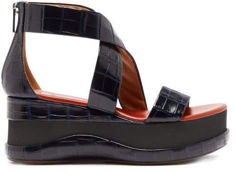 Crocodile Embossed Leather Flatform Sandals - Womens - Navy