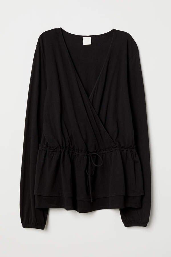 H&M+ Wrapover Top - Black